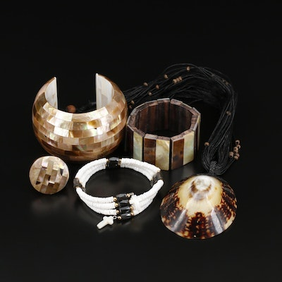 Assorted Jewelry with Shell, Wood and Mother of Pearl