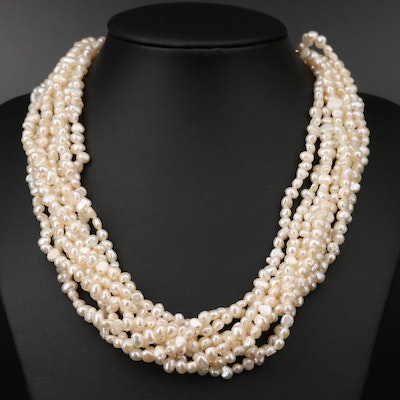 Sterling Silver Cultured Pearl Multi Chain Necklace