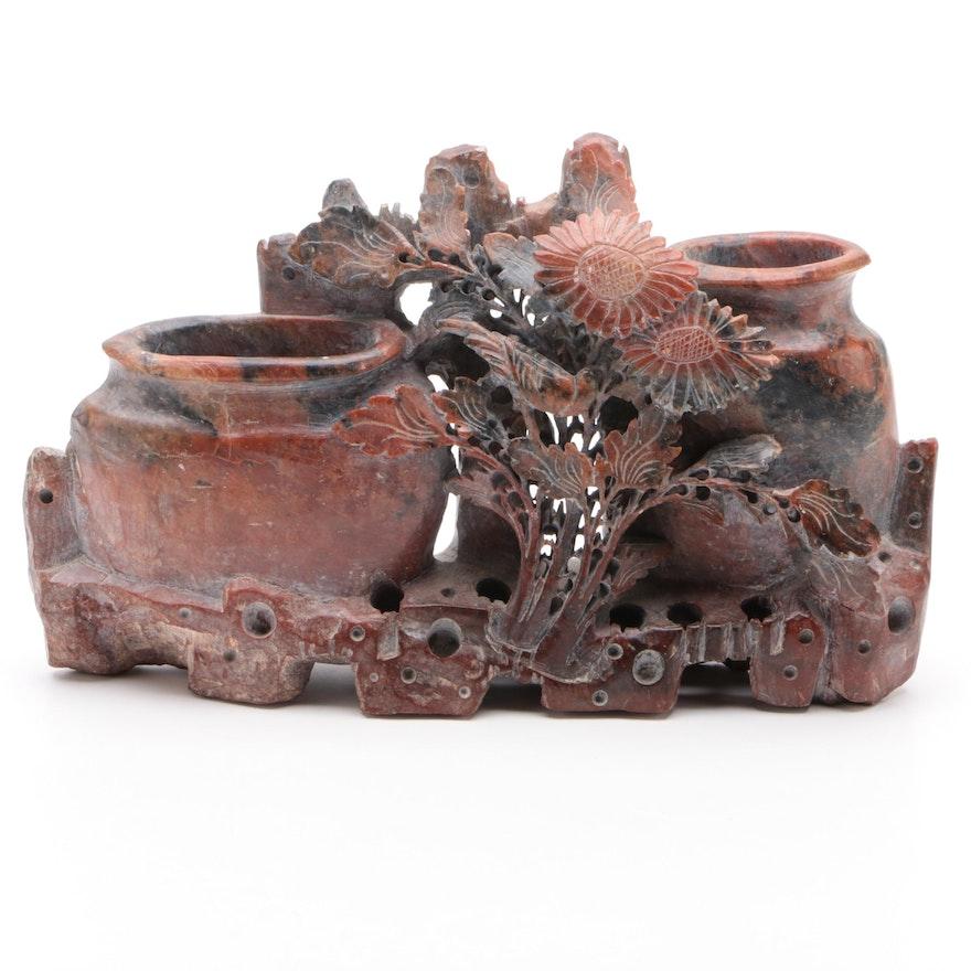 Chinese Hand Carved Soapstone Double Vase Brush Pot, 20th Century