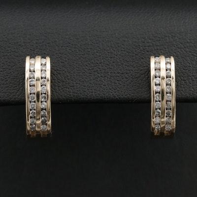 14K Diamond Channel J-Hoop Earrings
