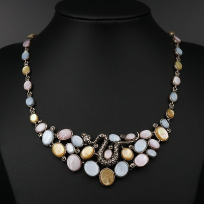 Sterling Silver Mother of Pearl and Marcasite Necklace with Snake Accent