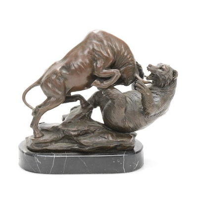 "European Bronze ""The Big Fight"" after Antoine-Louis Barye"