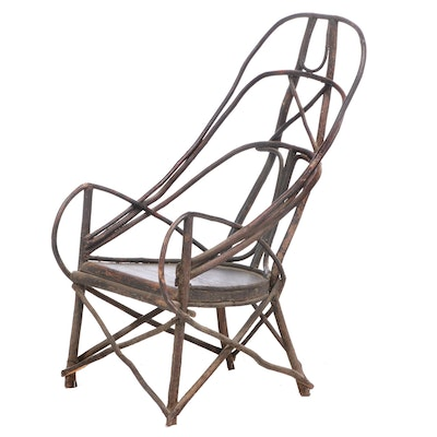 American Primitive Ebonized Bent Twig Armchair, 20th Century