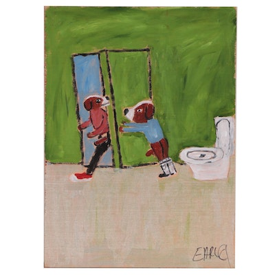 "Earl Swanigan Folk Art Acrylic Painting ""Caught in the Act (Naughty Earl)"""