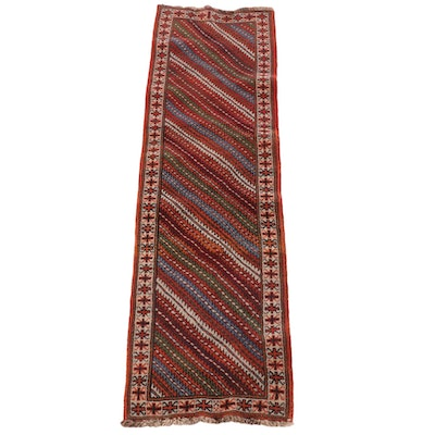 2'9 x 9'6 Hand-Knotted Turkish Bergama Wool Carpet Runner
