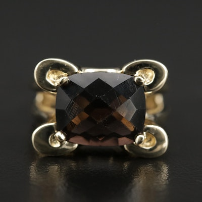 14K Faceted Glass Ring