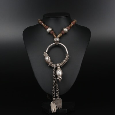 "Omani ""Hands of Fatima"" Sterling Silver Necklace With Seed, Wood and Glass Beads"