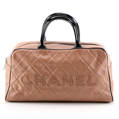 Chanel Diamond Quilted Blush Leather Satchel with Black Patent Leather Trim