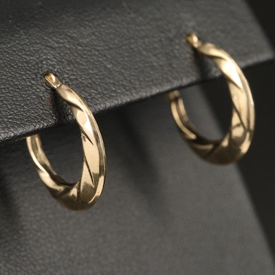 14K Twist Profile Design Hoop Earrings