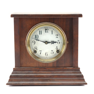 Sessions Clock Co. Mahogany Case and Brass Shelf Clock, Early 20th C.