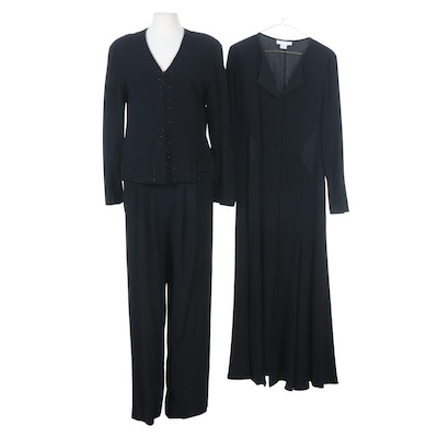 Zelda Black Woven Pantsuit and Long Sleeve Dress