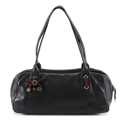 Gucci Princy Black Grained Leather Boston Satchel