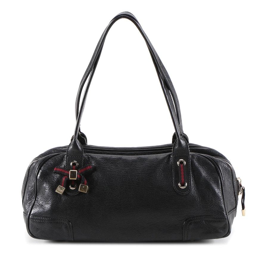 Gucci Princy Black Grained Leather Boston Satchel