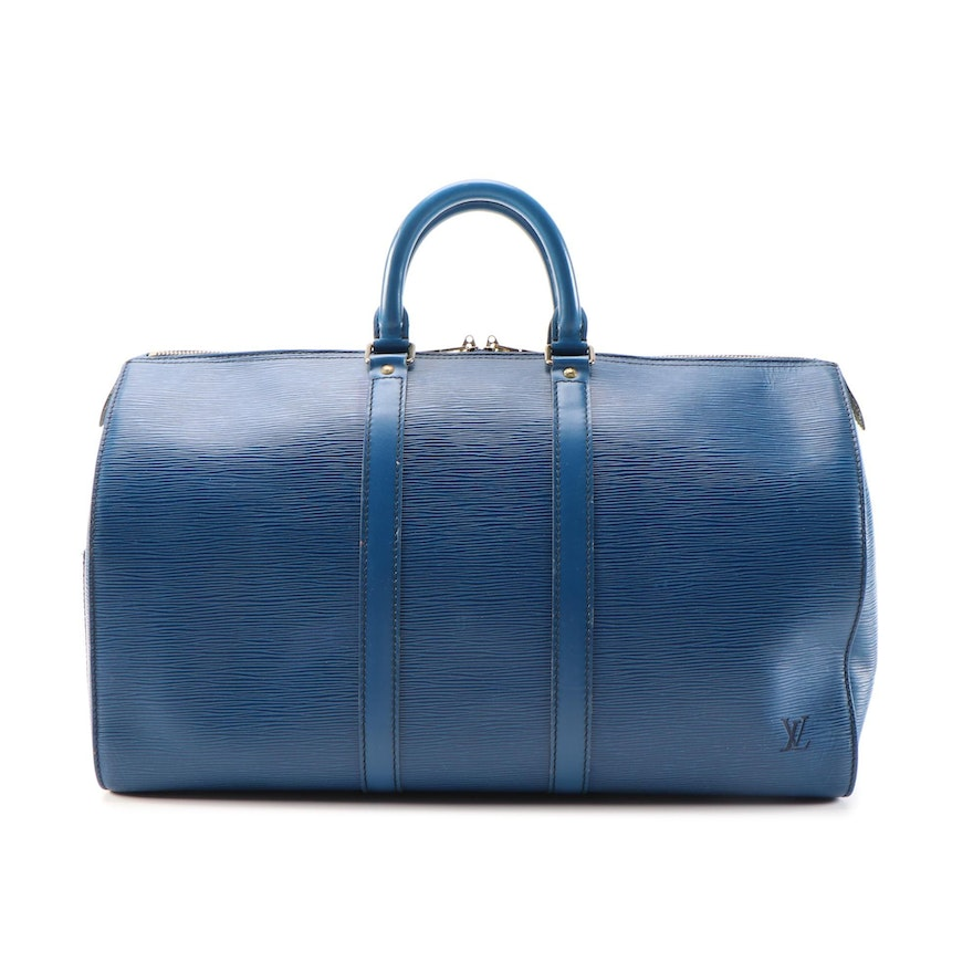 Louis Vuitton Keepall 45 Duffel Bag in Toledo Blue Epi and Smooth Leather