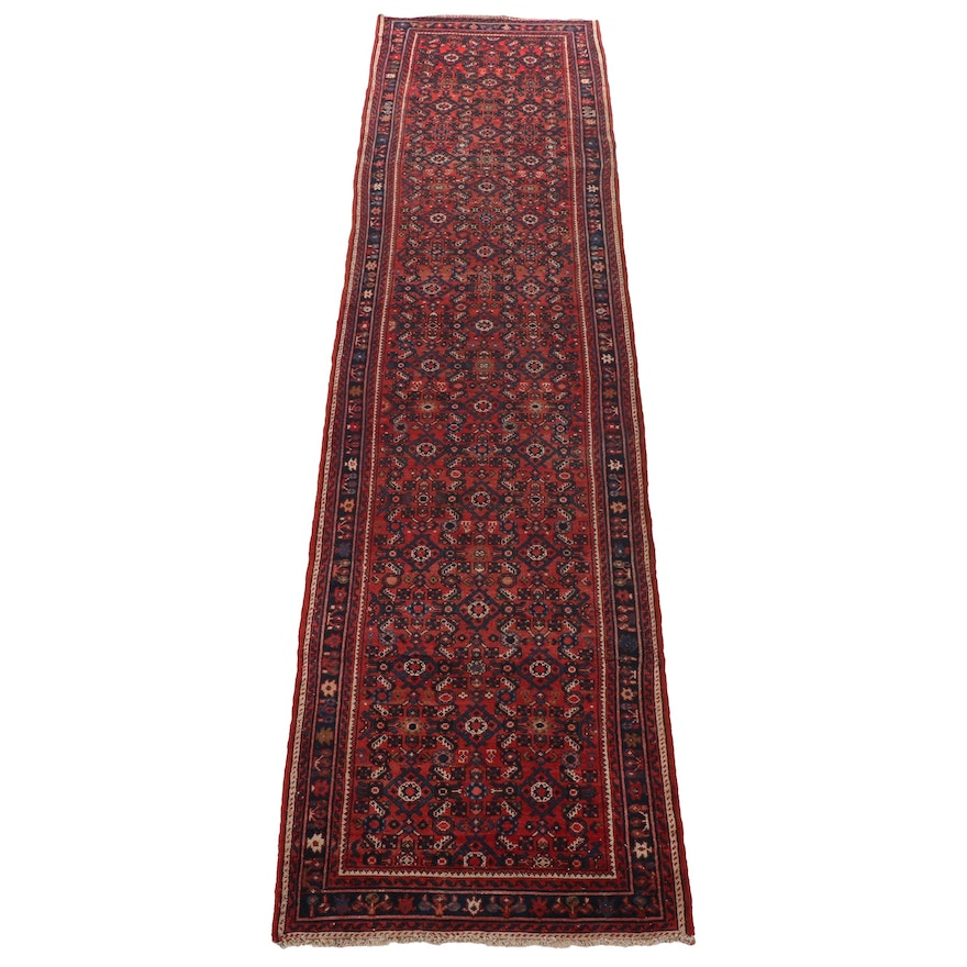 3'3 x 12'9 Hand-Knotted Persian Malayer Wide Runner Rug, 20th Century