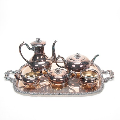 Sheffield Silver Plate Tea and Coffee Service with International Tray, Vintage