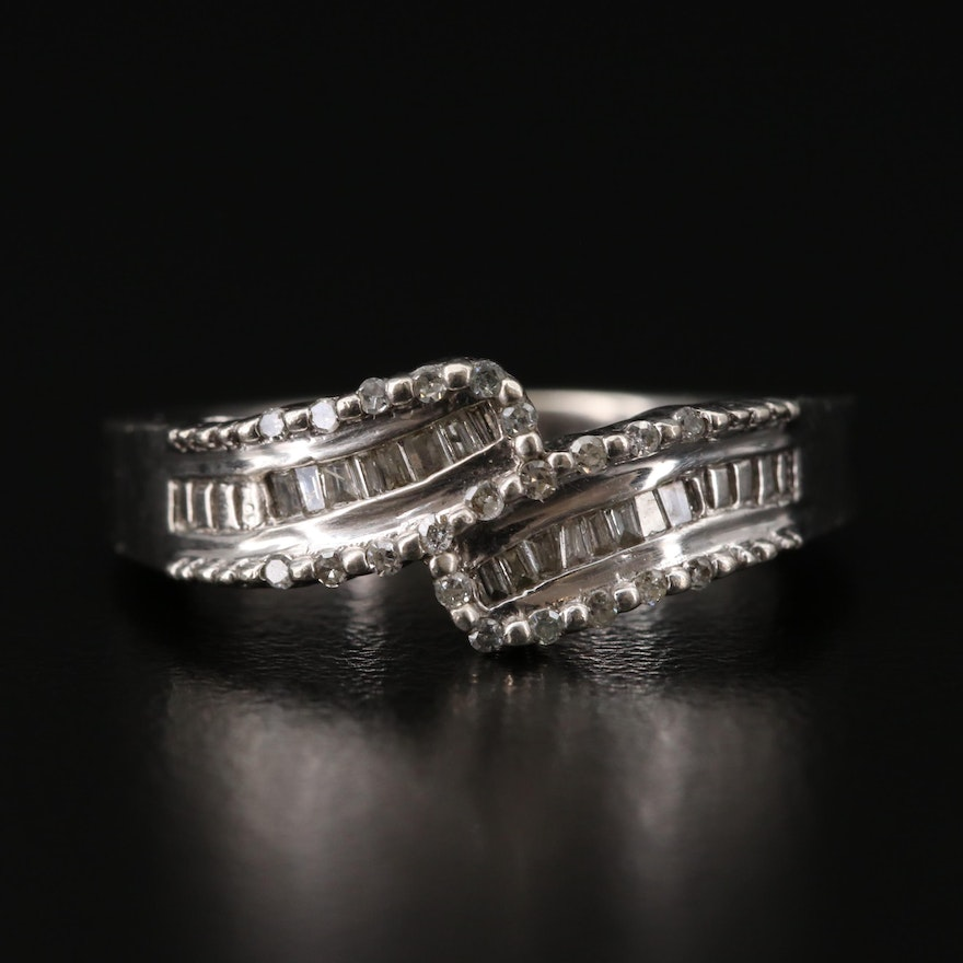 Sterling Silver Bypass Style Ring Featuring Channel Set Diamonds