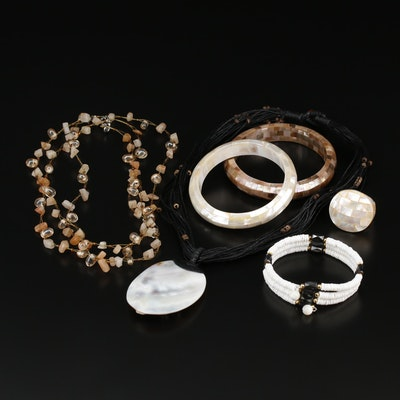 Jewelry Assortment Including Mother of Pearl and Quartz