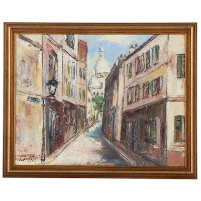 Cityscape Oil Painting, Mid-20th Century