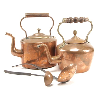 Antique Copper Tea Kettles with Iron Ladles, 19th/20th Century