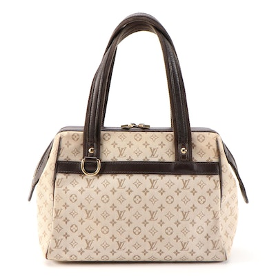 Louis Vuitton Josephine PM Bag in Mini Lin Beige Canvas and Dark Brown Leather