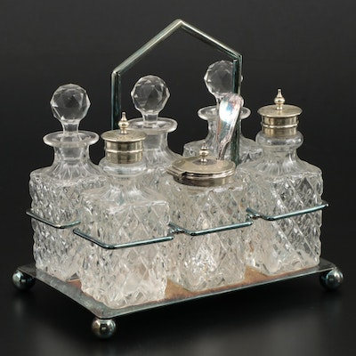 William Briggs & Co. Silver Plate and Cut Glass Condiment and Cruet Set