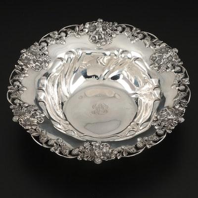 Graff, Washbourne & Dunn Sterling Silver Serving Bowl with Floral Motif Rim