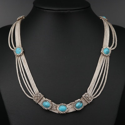 Sterling Silver Turquoise Necklace with Granulation Details