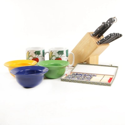 Waechtersbach Ceramic Bowls, Bone Hashi, H.F. 97 Mugs and Zwilling Knife Set