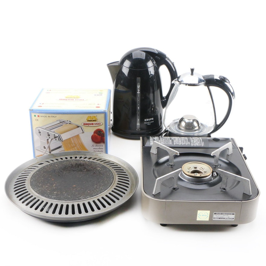 Marcata Pasta Machine, Krups and Capresso Kettles, with Other Appliances