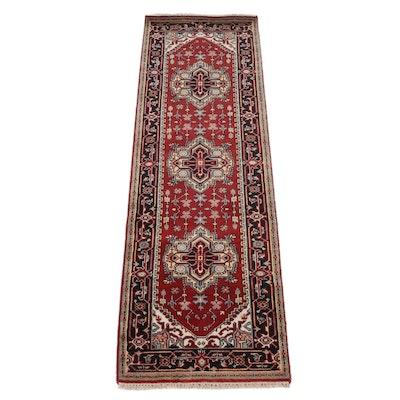2'7 x 8'3 Hand-Knotted Indo-Persian Heriz Serapi Runner Rug