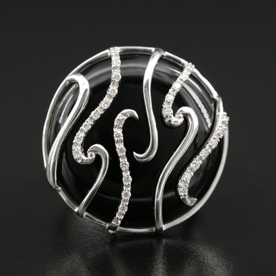 14K Black Onyx and Diamond Ring