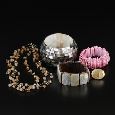 Mother Of Pearl, Wood and Glass Jewelry Assortment