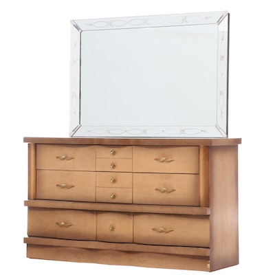 Mid Century Modern Mahogany Dresser with Etched Mirror, Mid-20th Century