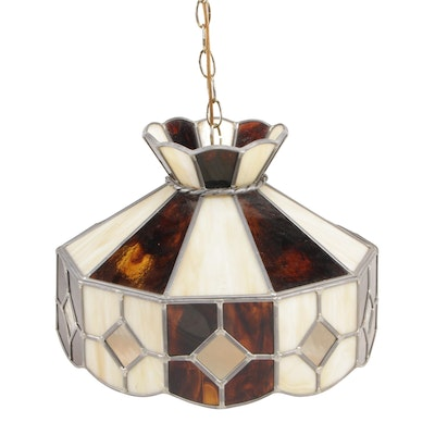Slag and Stained Glass Hanging Pendant Light