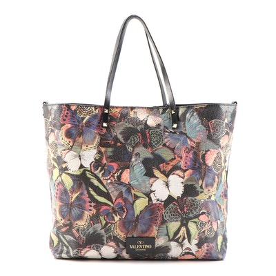 Valentino Butterfly Print Grained Leather Tote Bag with Rockstud Straps