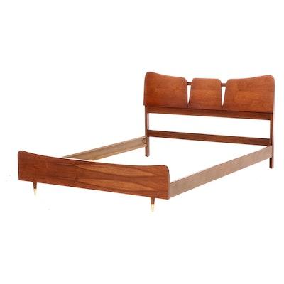 Mid Century Modern Walnut Full Size Bed Frame