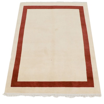 5'2 x 7'4 Hand-Knotted Nepalese Tibetan Mid Century Modern Style Rug