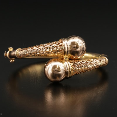 21K Gold Hinged Bangle Bypass Bracelet