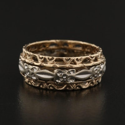 14K Yellow and White Gold Floral Band