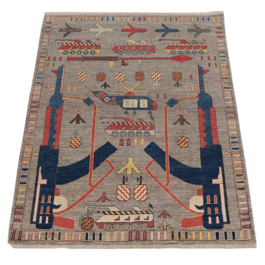 5'2 x 6'7 Hand-Knotted Afghani War Pictorial Rug