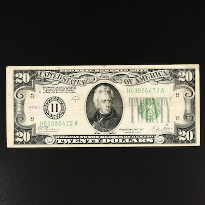 Series of 1928-B $20 Green Seal Federal Reserve Note