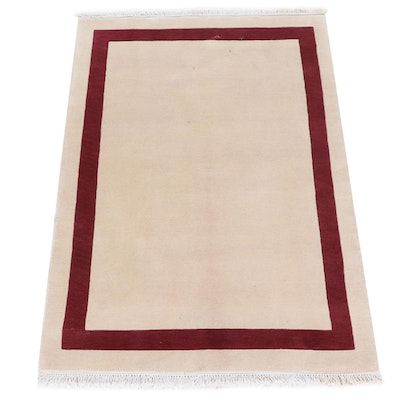 4'2 x 6'2 Hand-Knotted Tibetan Nepalese Mid Century Modern Style Rug