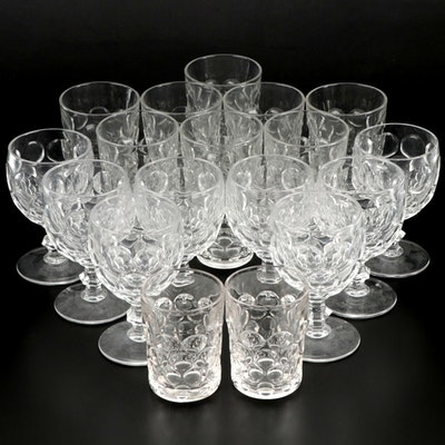 """Heisey """"Whirlpool"""" Pressed Glass Drinkware, Early to Mid 20th Century"""