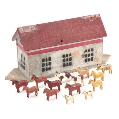 Folk Art Noah's Ark with Animals