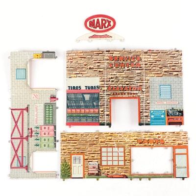 "Marx ""Service Center"" Tin Litho Toy Pieces"
