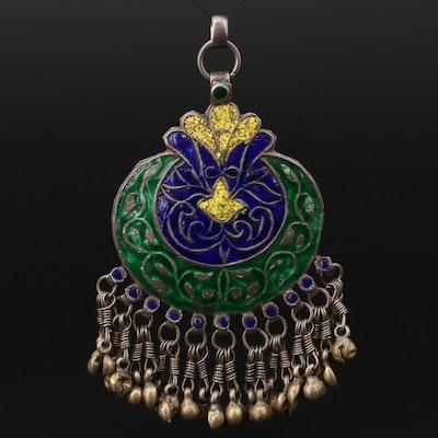 Vintage Asian 800 Silver Enameled Pendant