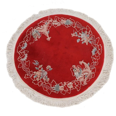 4'11 x 4'11 Hand-Knotted Chinese Peking Pictorial Round Rug