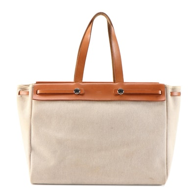 Hermès Herbag Cabas 2-in-1 Tote Bag in Natural Toile and Vache Calfskin Leather