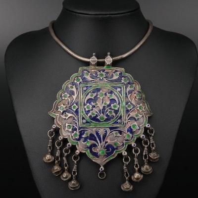 Multan Style Sterling Silver Enameled Necklace